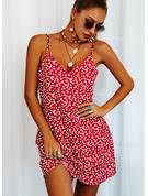 Print Sheath Spaghetti Straps Sleeveless Midi Casual Type Dresses