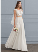 A-Line/Princess Scoop Neck Floor-Length Chiffon Wedding Dress With Beading Sequins