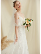 A-Line Off-the-Shoulder Sweep Train Tulle Lace Wedding Dress With Beading
