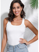 Regular Cotton Blends Square Collar Solid Tight Blouses