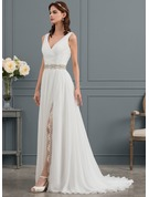 A-Line/Princess V-neck Sweep Train Chiffon Wedding Dress With Ruffle Lace Beading Split Front