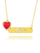 Christmas Gifts For Her - Custom 18k Gold Plated Bar Hollow Carved Name Necklace Birthstone Necklace