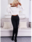 Round Neck Long Sleeves Short Solid Casual Pullovers