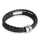 [Free Shipping]Men Braided Leather Bracelets With Custom Beads In Silver - Father's Day Gifts