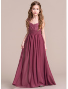 A-Line/Princess Sweetheart Floor-Length Chiffon Junior Bridesmaid Dress With Ruffle