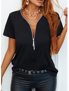 Regular Polyester V-Neck Solid 3XL L S M XL XXL Blouses