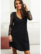 Lace Solid Shift V-Neck Long Sleeves Midi Elegant Little Black Dresses