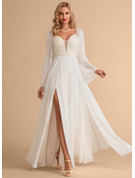 Sweetheart Floor-Length Chiffon Wedding Dress With Beading