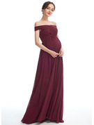 A-line Off the Shoulder Floor-length Chiffon Maternity Bridesmaid Dress With Split Front
