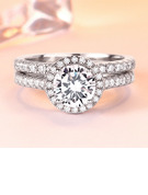 Sterling Silver Cubic Zirconia Halo Round Cut Promise Rings Bridal Sets