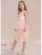 A-Line Scoop Neck Knee-Length Chiffon Junior Bridesmaid Dress With Beading Sequins Cascading Ruffles