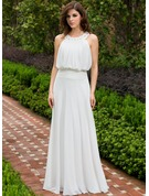 A-Line/Princess Scoop Neck Floor-Length Chiffon Evening Dress With Ruffle Lace Beading Sequins
