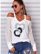 Regular Cotton Blends Cold Shoulder Lace Print Heart Fitted Blouses