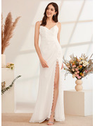 A-Line V-neck Sweep Train Wedding Dress With Lace Bow(s) Split Front