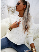 Round Neck Long Sleeves Solid Casual Pullovers