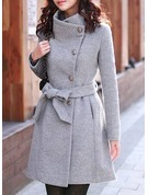 Polyester Long Sleeves Plain Slim Fit Coats Coats