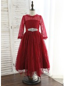 A-Line Tea-length Flower Girl Dress - Lace 3/4 Sleeves Scoop Neck With Rhinestone
