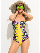 Sexy Plus Size Floral Polyester Spandex One-piece