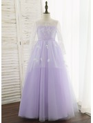 Ball-Gown/Princess Floor-length Flower Girl Dress - Tulle/Lace Long Sleeves Scoop Neck With Flower(s)