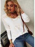 Regular Cotton Blends V-Neck Print Heart Fitted Blouses