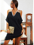Sequins Solid Shift Cold Shoulder Short Sleeves Midi Elegant Little Black Dresses