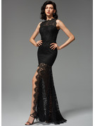 Trumpet/Mermaid Scoop Neck Sweep Train Lace Evening Dress With Split Front