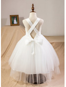Ball-Gown/Princess Tea-length Flower Girl Dress - Satin/Tulle/Lace Sleeveless Straps With Bow(s)