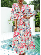 Print A-line V-Neck 3/4 Sleeves Batwing Sleeves Maxi Boho Casual Vacation Skater Dresses