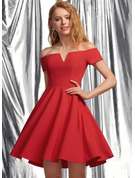 A-Line V-neck Off-the-Shoulder Short/Mini Stretch Crepe Homecoming Dress