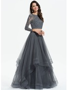 Scoop Neck Floor-Length Tulle Prom Dresses With Beading Sequins