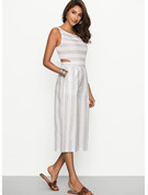 Cotton/Linen With Stitching Midi Dress
