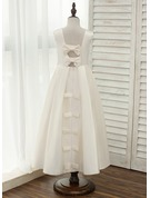 A-Line/Princess Ankle-length Flower Girl Dress - Satin Sleeveless Scoop Neck With Bow(s)/Rhinestone/Back Hole
