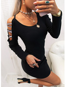 Solid Bodycon Cold Shoulder Long Sleeves Midi Casual Little Black Dresses