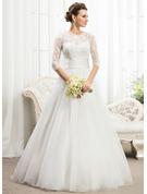 Ball-Gown Scoop Neck Floor-Length Organza Wedding Dress With Ruffle Beading Sequins