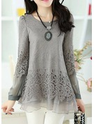 Lace Long Sleeves Chiffon Round Neck Casual Blouses Blouses
