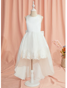 Ball-Gown/Princess Asymmetrical Flower Girl Dress - Satin/Tulle Sleeveless Scoop Neck With Lace/Bow(s)