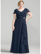 A-Line V-neck Floor-Length Chiffon Mother of the Bride Dress With Crystal Brooch Cascading Ruffles