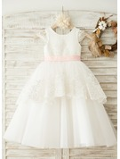 A-Line/Princess Tea-length Flower Girl Dress - Satin/Tulle Sleeveless Scoop Neck With Sash/Appliques/Bow(s)