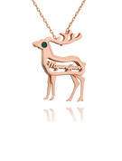 Christmas Gifts For Her - Custom 18k Rose Gold Plated 3D Hollow Carved Sika Deer Name Necklace Birthstone Necklace