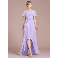 A-Line/Princess Off-the-Shoulder Asymmetrical Chiffon Bridesmaid Dress With Cascading Ruffles