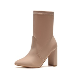 Women's Leatherette Chunky Heel Pumps Boots Mid-Calf Boots With Others shoes