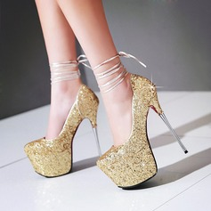 Women's Sparkling Glitter Stiletto Heel Pumps Platform Closed Toe With Lace-up shoes