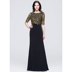 A-Line/Princess Scoop Neck Sweep Train Lace Mother of the Bride Dress