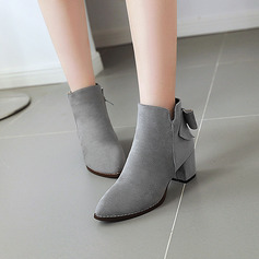 Women's Suede Chunky Heel Pumps Boots Ankle Boots With Bowknot Zipper shoes
