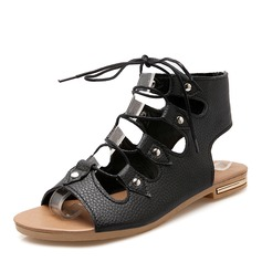 Women's Leatherette Flat Heel Sandals With Lace-up shoes