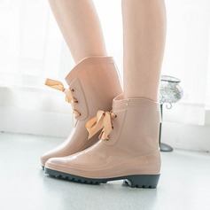 Women's PVC Low Heel Closed Toe Boots Ankle Boots With Lace-up shoes