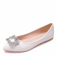 Women's Leatherette Flat Heel Closed Toe With Buckle
