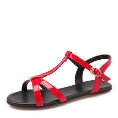 Kvinner PU Flat Hæl Sandaler Flate sko med Spenne sko