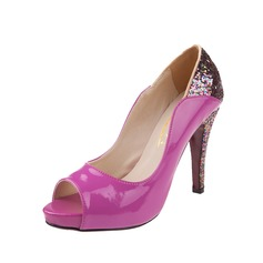 Leatherette Sparkling Glitter Stiletto Heel Pumps Platform Peep Toe With Split Joint shoes