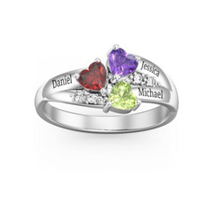 Sterling Silver Cubic Zirconia Brithstone Exquisite Heart Cut Mother's Rings Custom Rings - (289234611)